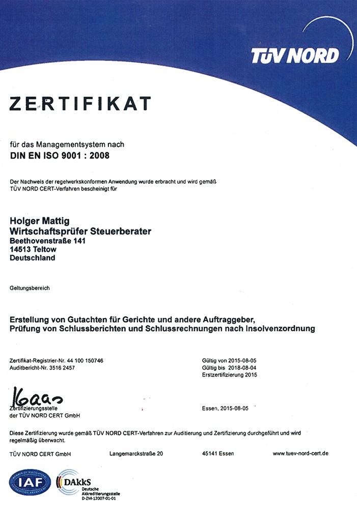 http://buero-mattig.de - Zertifikat